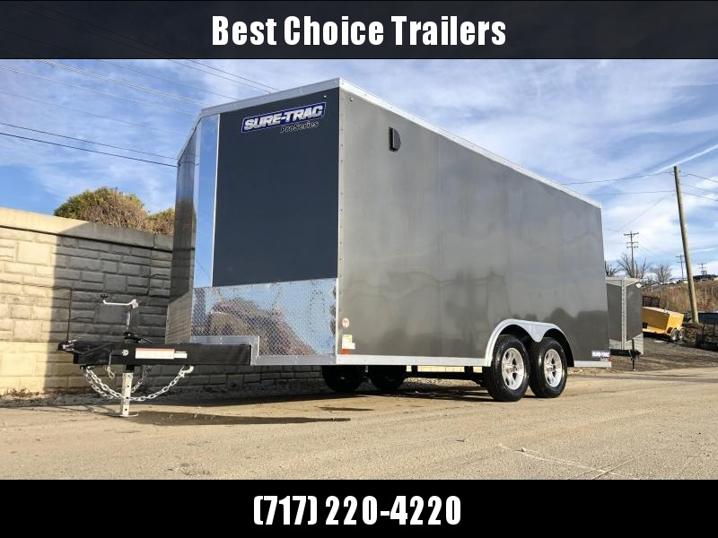 2021 Sure-Trac 8.5x16' Enclosed Cargo Trailer 7000# GVW * CHARCOAL * PRO SERIES * TORSION * BACKUP LIGHTS * SCREWLESS * 1 PIECE ALUMINUM ROOF * PLYWOOD * TUBE STUDS * ALUMINUM WHEELS