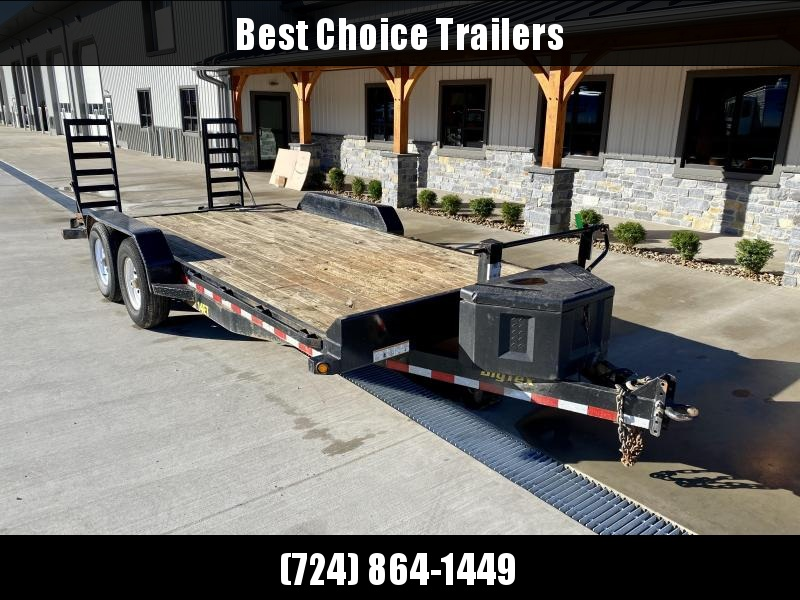 USED 2018 Big Tex 7x18 Equipment Trailer 14000 GVW STAND UP RAMPS ADJUSTABLE PINTLE COUPLER TOOLBOX 12K DROP LEG JACK RUBRAIL STAKE POCKETS SPARE TIRE MOUNT REMOVABLE FENDERS