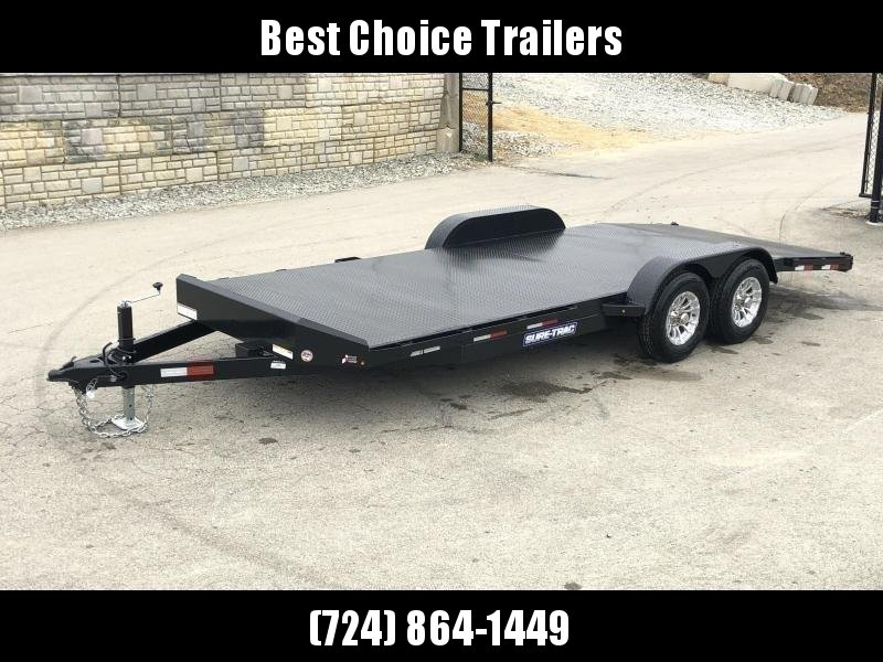 """2021 Sure-Trac 7x18' Steel Deck Car Hauler 9900# GVW * 4' BEAVERTAIL * LOW LOAD ANGLE * ALUMINUM WHEELS * 5"""" TUBE TONGUE/FRAME * AIR DAM * RUBRAIL/STAKE POCKETS/D-RINGS * REMOVABLE FENDER * FULL SEAMS WELDS * REAR SLIDEOUT PUNCH PLATE RAMPS"""