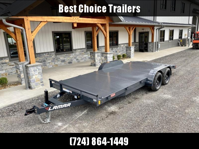 "2021 Lamar 7x18 7000# Wood Deck Car Hauler Trailer * 11GA STEEL DECK * ADJUSTABLE COUPLER * DROP LEG JACK * REMOVABLE FENDERS * EXTRA STAKE POCKETS * CHARCOAL * 4 D-RINGS * 5"" CHANNEL FRAME * COLD WEATHER HARNESS * REAR RAMPS"