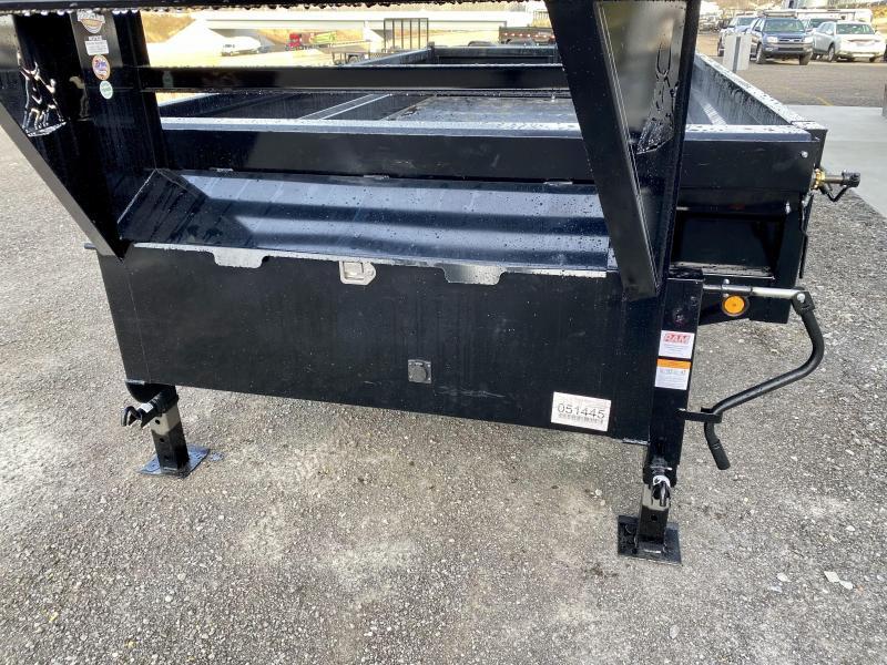 2021 Ironbull 8x16' Gooseneck Deckover Dump Trailer 14000# GVW * TARP KIT * I-BEAM FRAME * BED RUNNERS * FULL FRONT TOOLBOX * DUAL JACKS * FOLD DOWN SIDES * OVERSIZE 5x20 SCISSOR