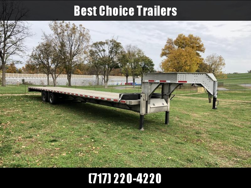 USED 2017 Crossman 102x40' Aluminum Gooseneck Flatbed Deckover Trailer 25990# GVW * DEXTER AXLES * EOH DISC BRAKES * SUPER SINGLES * 4 SPARE TIRES * ONLY 6233# EMPTY! * EXTRUDED ALUMINUM FLOOR * LOTS OF EXTRAS * VERY WELL BUILT