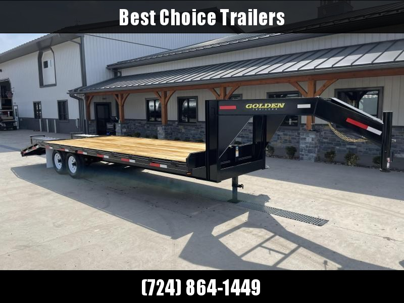 2021 Golden by Corn Pro 102x25' Beavertail Gooseneck Deckover Trailer 14000# GVW * WEDGE FLIPOVER RAMPS + SPRING ASSIST * RUBRAIL/STAKE POCKETS * SPARE TIRE MOUNT * 12K DROP LEG JACK * MUDFLAPS * CHAIN TRAY