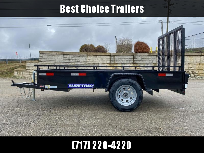 "2021 Sure-Trac 5x10' Solid Side Utility Landscape Trailer 2990# GVW * 2X2"" TUBE GATE C/M + SPRING ASSIST * FOLD FLAT GATE * TOOLESS GATE REMOVAL * SPARE MOUNT * PROTECTED WIRING * SET BACK JACK * TRIPLE TUBE TONGUE * HD FENDERS * TUBE BUMPER * HIGH SIDE"