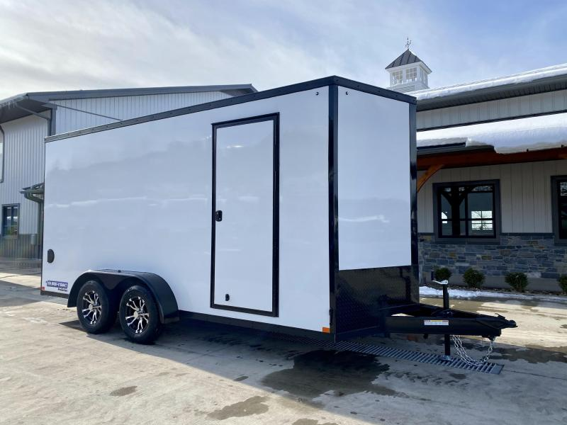 """2021 Sure-Trac 7x16' Enclosed Cargo Trailer 7000# GVW * WHITE EXTERIOR * BLACKOUT TRIM PACKAGE * TORSION * .030 SCREWLESS * ALUM WHEELS * 1PC ROOF * 7' HEIGHT * 6"""" FRAME * LED LIGHTS * BACKUP LIGHTS * 22"""" LOADING LIGHTBAR"""