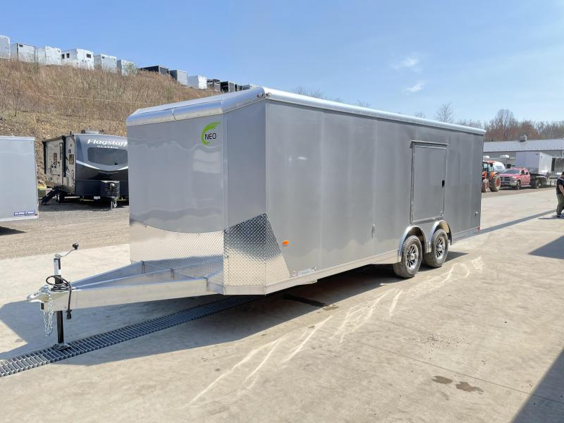 2021 NEO 8.5x24' NACX Aluminum Enclosed Car Hauler Trailer 9990# GVW * SILVER EXTERIOR * ESCAPE DOOR * 5200# TORSION * BULLNOSE * SPREAD AXLE * DRT REAR SPOILER * NXP RAMP * ROUND TOP * HD FRAME * ALUMINUM WHEELS * RV DOOR * 1 PC ROOF