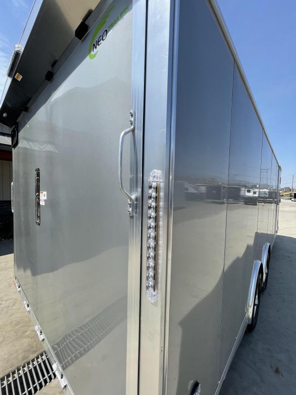 2021 NEO 8.5x24' NACX Aluminum Enclosed Car Hauler Trailer 9990# GVW * SILVER EXTERIOR * ESCAPE DOOR * 5200# TORSION * BULLNOSE * SPREAD AXLE * DRT REAR SPOILER * NXP RAMP * ROUND TOP * HD FRAME * ALUMINUM WHEELS * RV DOOR * 1 PC ROOF