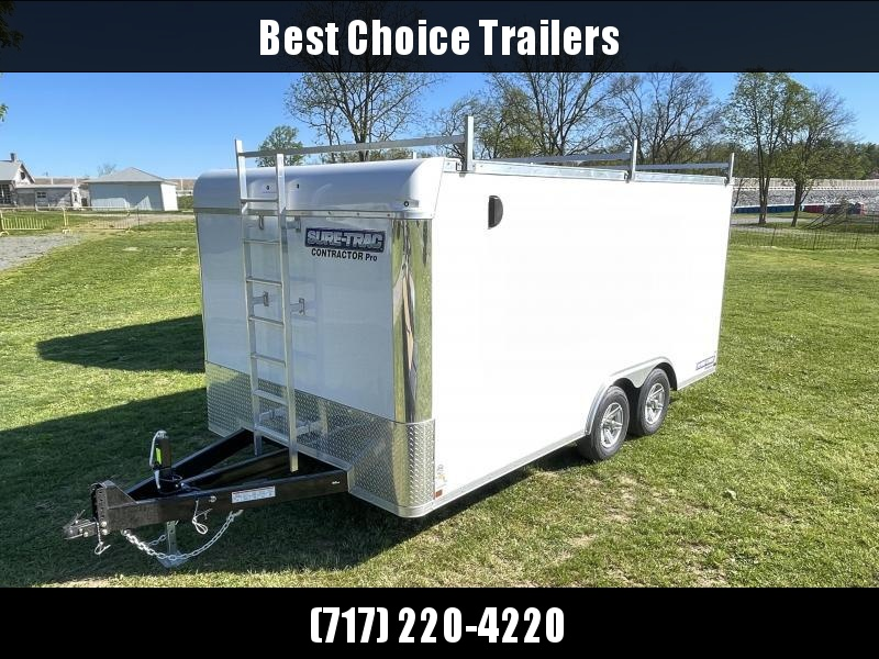 2021 Sure-Trac 8.5x16' Enclosed Contractor Pro 9900# GVW * COMMERCIAL ENCLOSED TRAILER * LADDER RACKS * FRONT LADDER * WALK ON ROOF * 5200# AXLES * HD RAMP DOOR * INTEGRATED KNIFE EDGE * TORSION * SCREWLESS * BACKUP LIGHTS * EXT TONGUE * ADJUSTABLE COUPLE
