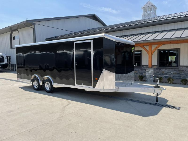 2021 NEO 8.5x22' NACX Aluminum Enclosed Car Hauler Trailer 9990# GVW * BLACK EXTERIOR * ESCAPE DOOR * 5200# TORSION * BULLNOSE * SPREAD AXLE * DRT REAR SPOILER * NXP RAMP * ROUND TOP * HD FRAME * ALUMINUM WHEELS * RV DOOR * 1 PC ROOF