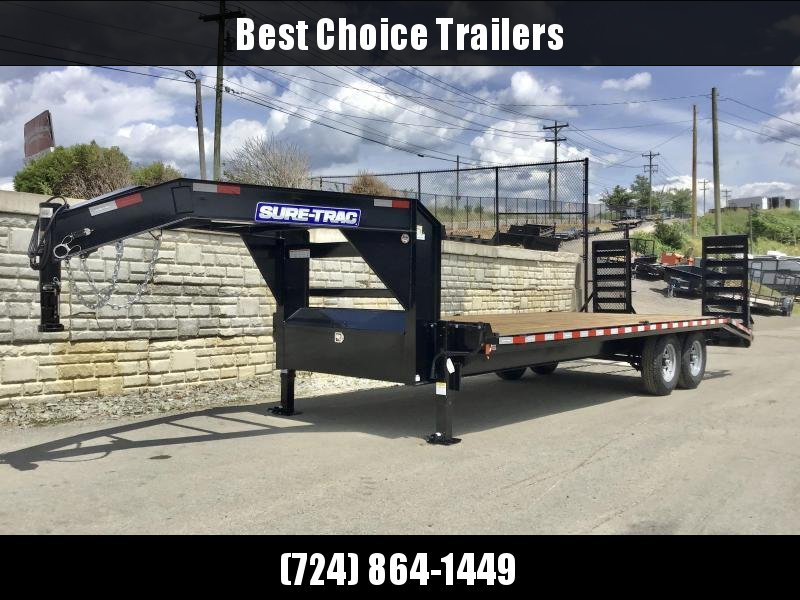 "2021 Sure-Trac 102x24 Gooseneck Beavertail Deckover Trailer 15000# GVW * FULL TOOLBOX * DUAL 12K JACKS * DELUXE HD 4"" CHANNEL STAND UP RAMPS + SPRING ASSIST * 10"" I-BEAM MAINFRAME * CHANNEL SIDE RAIL * RUBRAIL/STAKE POCKETS/D-RINGS * LED'S * POWDERCOATED"