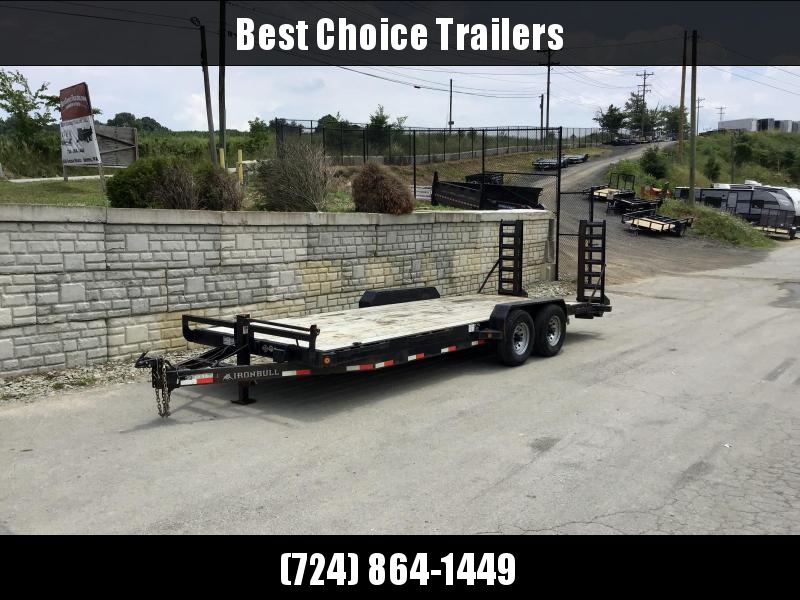 "USED 2018 Ironbull 7x22' Equipment Trailer 14000# GVW * STAND UP RAMPS * REMOVABLE FENDERS * 16"" O.C. STRUCTURAL CHANNEL C/M * RUBRAIL/STAKE POCKETS/PIPE SPOOLS/D-RINGS * ADJUSTABLE CAST COUPLER * 12K JACK * DEXTER'S"