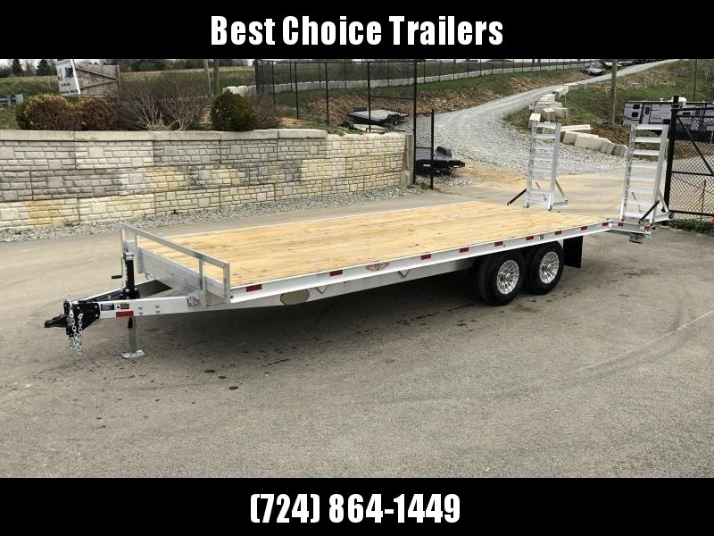 2021 H and H 102x20+4 Aluminum Beavertail Deckover Flatbed Trailer 14000# GVW * ALUMINUM STAND UP RAMPS