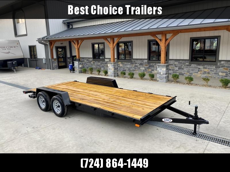 2021 AMO 7x18' Wood Deck Car Trailer 7000# GVW * LED TAIL LIGHTS * STACKED CHANNEL TONGUE/FRAME * BEAVERTAIL * REMOVABLE FENDERS * 2-AXLE BRAKES * CLEARANCE