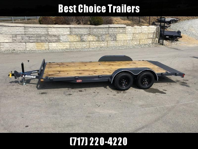 """2020 Lamar 7x18 7000# Wood Deck Car Hauler Trailer * ADJUSTABLE COUPLER * DROP LEG JACK * REMOVABLE FENDERS * EXTRA STAKE POCKETS * CHARCOAL * 4 D-RINGS * 5"""" CHANNEL FRAME * COLD WEATHER HARNESS * REAR RAMPS"""