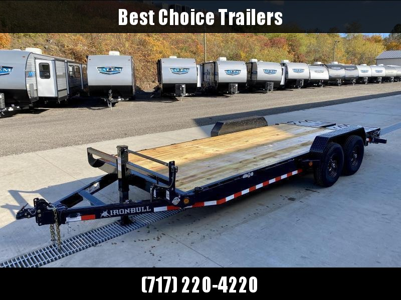 """2021 Ironbull 7x22' Equipment Trailer 14000# GVW * FULL WIDTH RAMPS * REMOVABLE FENDERS * 16"""" O.C. STRUCTURAL CHANNEL C/M * RUBRAIL/STAKE POCKETS/PIPE SPOOLS/D-RINGS * ADJUSTABLE CAST COUPLER * 12K JACK * DEXTER'S * 2-3-2 WARRANTY"""
