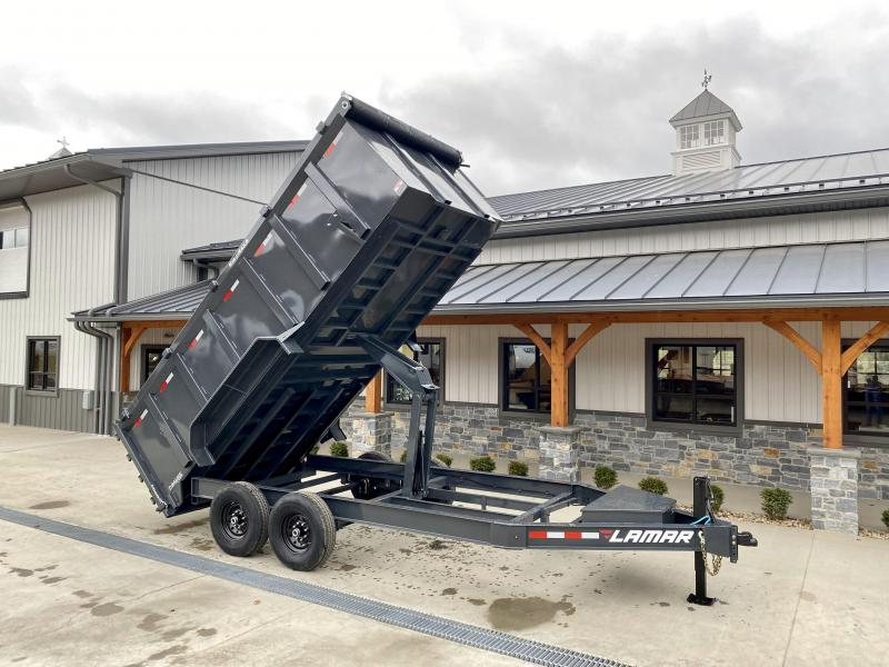 "2021 Lamar 7x16' High Side Dump Trailer 14000# GVW * 4' HIGH SIDES * 7GA FLOOR * TARP KIT * UNDERMOUNT RAMPS * SCISSOR HOIST * 12K JACK * CHARCOAL * RIGID RAILS * HD COUPLER * NESTLED I-BEAM FRAME * 3-WAY GATE * 12"" O.C. C/M * SPARE MOUNT"