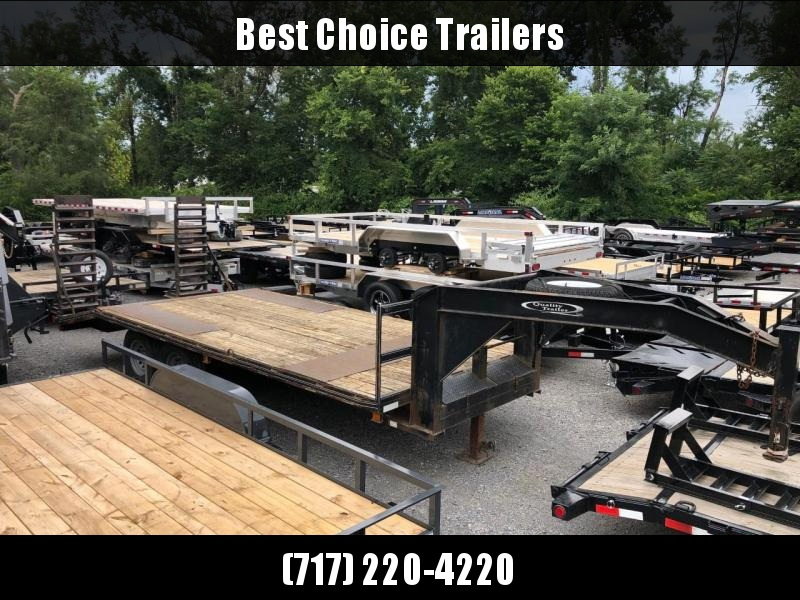 USED 2007 Quality 102x20' Gooseneck Beavertail Deckover 14000# GVW * STAND UP RAMPS * TOOLBOX * SPARE TIRE