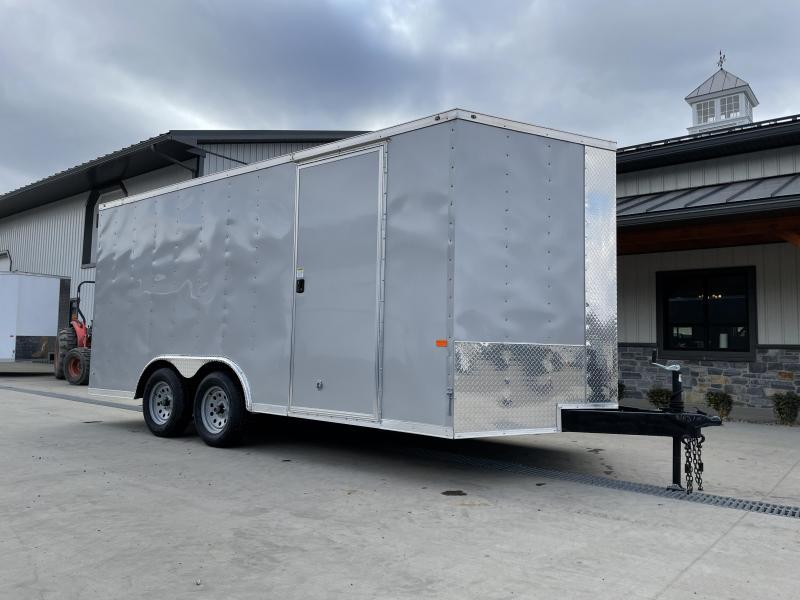 2021 Rock Solid Cargo 8.5x16' Enclosed Car Trailer 7000# GVW *  SILVER EXTERIOR * RAMP DOOR * RV DOOR * 16IN O.C. C/M * TUBE STUDS * PLYWOOD WALLS AND FLOOR