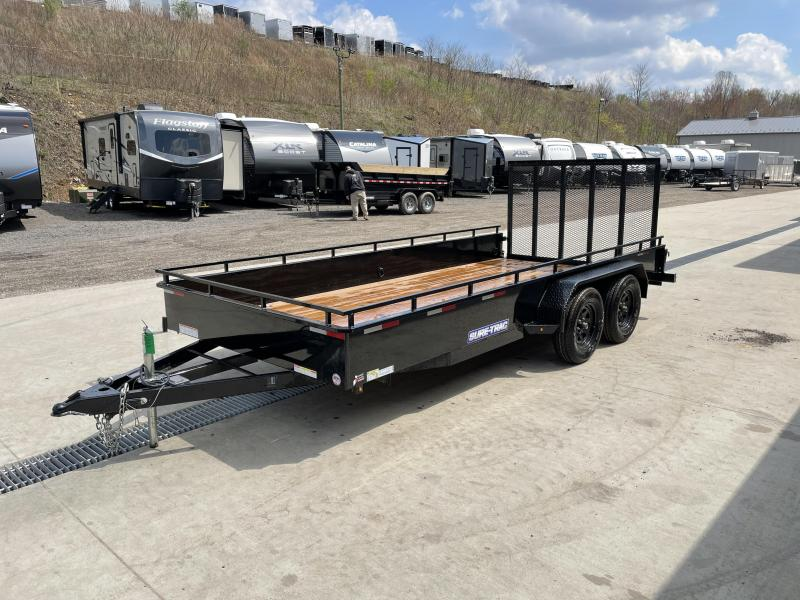 "USED 2018 Sure-Trac 7x16' Steel High Side Utility Trailer 7000# GVW * 3x4"" ANGLE FRAME * 14"" STEEL SOLID SIDES * 2X2"" TUBE GATE C/M + SPRING ASSIST + FOLD FLAT * TOOLESS GATE REMOVAL * SPARE MOUNT * PROTECTED WIRING * SET BACK JACK * TRIPLE TUBE TONGUE"