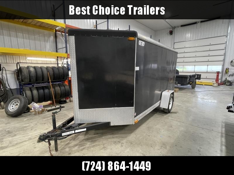 USED 2005 Car Mate 6x12' Enclosed Cargo Trailer 2990# GVW * 1-PIECE ROOF * SCREWLESS EXTERIOR * PLYWOOD WALLS/FLOORS * WHEEL CHOCK * E-TRACK * D-RINGS * CARGO VICE LOCKS