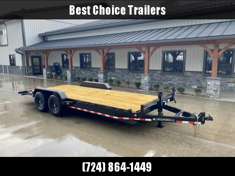 2022 Ironbull 7x20' Wood Deck Car Trailer 14000# GVW * OVERWIDTH RAMPS * CHANNEL C/M * RUBRAIL/STAKE POCKETS/PIPE SPOOLS/D-RINGS * CLEARANCE