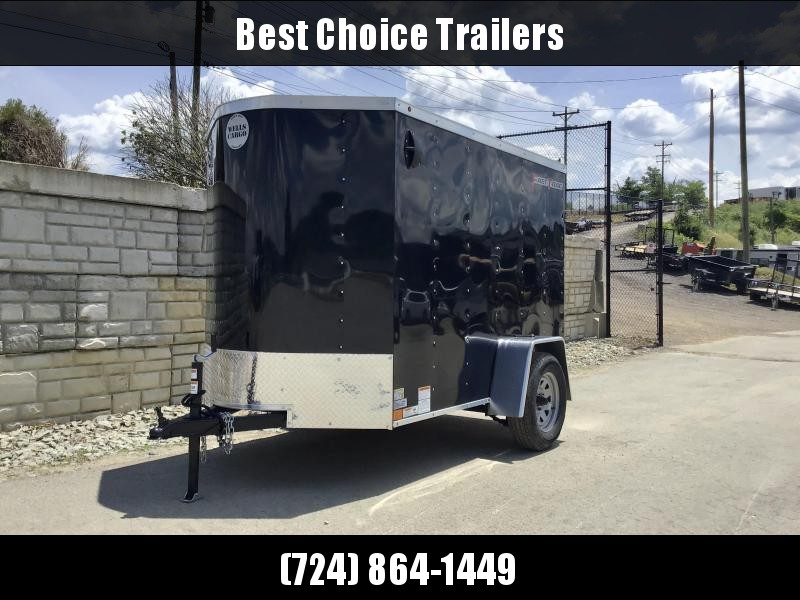 """2020 Wells Cargo 5X8' FastTrac Deluxe Enclosed Cargo Trailer 2990# GVW * BLACK EXTERIOR * BARN DOOR * V-NOSE * 1 PC ROOF * 16"""" O.C. WALLS * BULLET LED'S"""