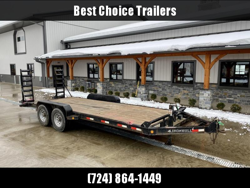 USED 2019 Ironbull 7x20' Equipment Trailer 9999# GVW * STAND UP RAMPS * ADJUSTABLE PINTLE COUPLER * TOOL TRAY * 12K DROP LEG JACK * DERATED FROM 14000# GVW