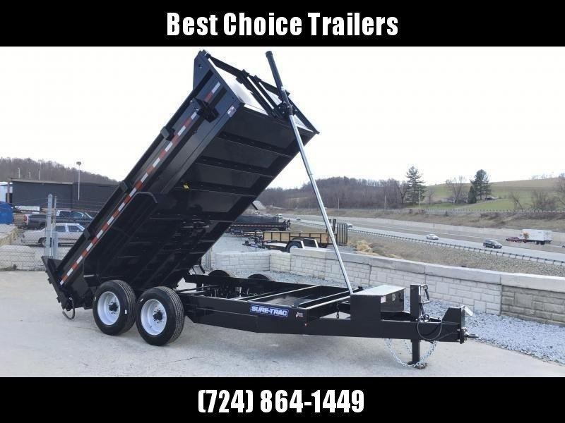 2021 Sure-Trac 7x14' HD Dump Trailer 16000# GVW * 8000# AXLES * TELESCOPIC HOIST * FRONT/REAR BULKHEAD * INTEGRATED KEYWAY * 2' SIDES * UNDERBODY TOOL TRAY * ADJUSTABLE COUPLER * 110V CHARGER * UNDERMOUNT RAMPS * COMBO GATE * 7K DROP LEG JACK * SPARE MOUN