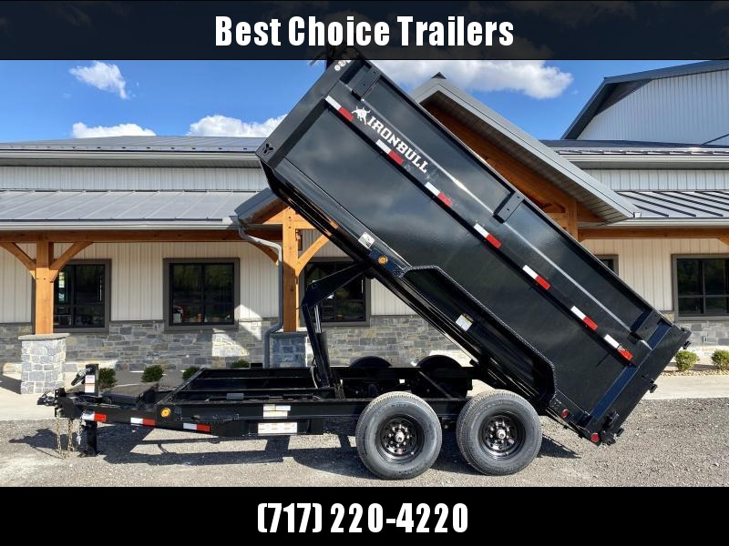 2021 Ironbull 7x14' High Side Dump Trailer 14000# GVW * 12K JACK * 7 GA FLOOR * RAMPS * TARP KIT * SCISSOR HOIST * SPARE MOUNT * 4' SIDES