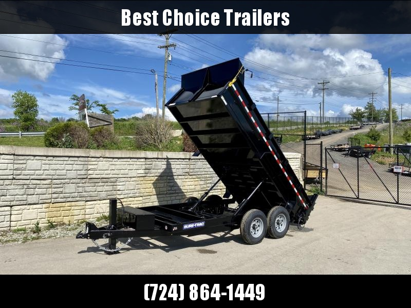 2021 Sure-Trac 7x14' Dump Trailer 14000# GVW * TARP KIT * HYDRAULIC JACK * 7 GAUGE FLOOR * DUAL PISTON * FRONT/REAR BULKHEAD * INTEGRATED KEYWAY * 2' SIDES * UNDERBODY TOOL TRAY * ADJUSTABLE COUPLER * 110V CHARGER