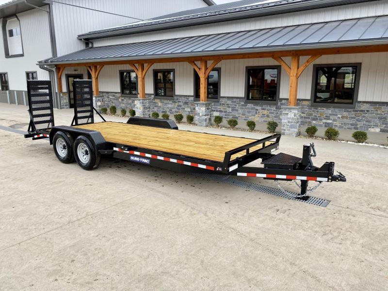"2021 Sure-Trac 7x22' Equipment Trailer 14000# GVW * TOOLBOX * 12K JACK * DELUXE OVERWIDTH 4"" CHANNEL RAMPS W/ MESH * RUBRAIL/STAKE POCKETS/D-RINGS * HD FENDERS * ADJUSTABLE CAST COUPLER * SPARE MOUNT * SEALED HARNESS"