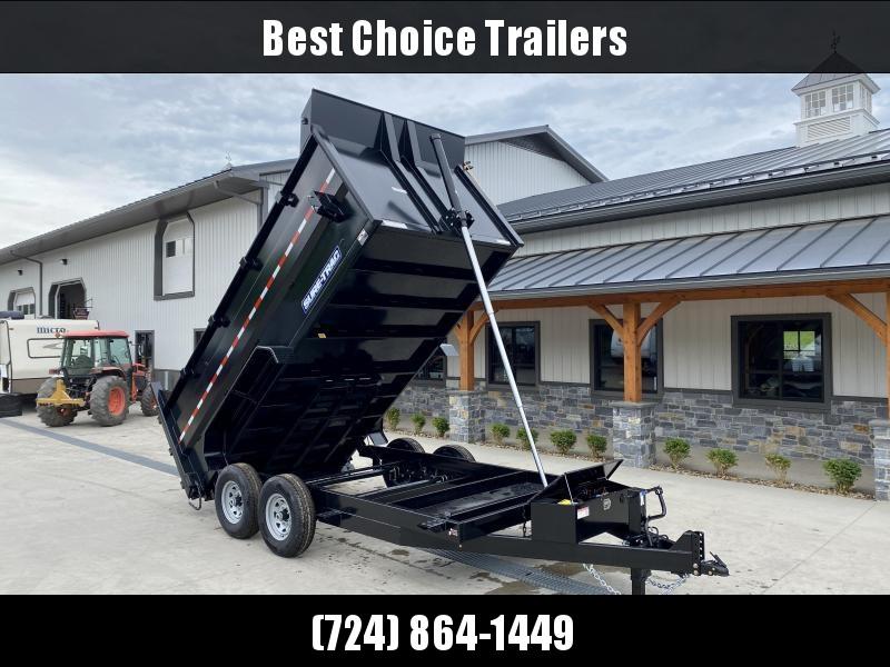 2021 Sure-Trac 7x16' Dump Trailer 14000# GVW * TARP KIT * 4' HIGH SIDES * TELESCOPIC HOIST * 12K JACK * FRONT/REAR BULKHEAD * INTEGRATED KEYWAY * UNDERBODY TOOL TRAY * ADJUSTABLE COUPLER * 110V CHARGER * UNDERMOUNT RAMPS