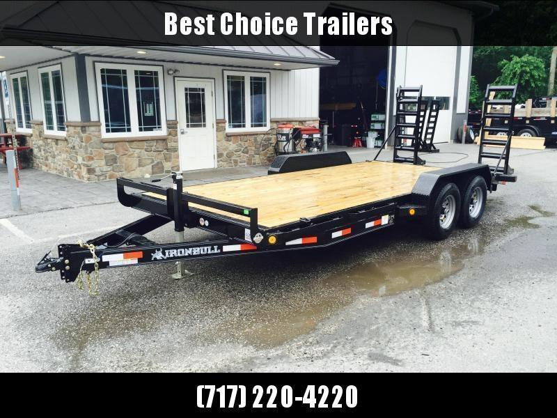 2021 Ironbull 7x20' Equipment Trailer 9990# GVW * RUBRAIL/STAKE POCKETS/PIPE SPOOLS/D-RINGS * ADJUSTABLE KNEE * KNIFEEDGE RAMP * REMOVABLE FENDERS