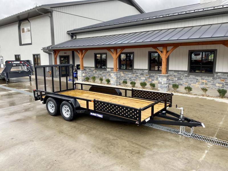 2021 Sure-Trac 7x16' Tube Top ATV Side Ramps Utility Landscape Trailer 7000# GVW
