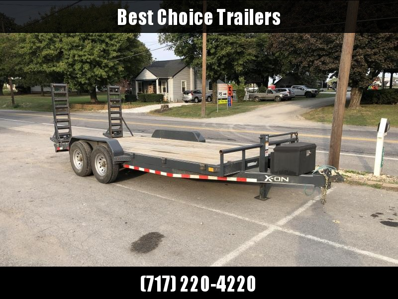 USED 2018 X-On 7x18' Equipment Trailer 14000# GVW * CHARCOAL * TOOLBOX * 12K JACK * ADJUSTABLE COUPLER
