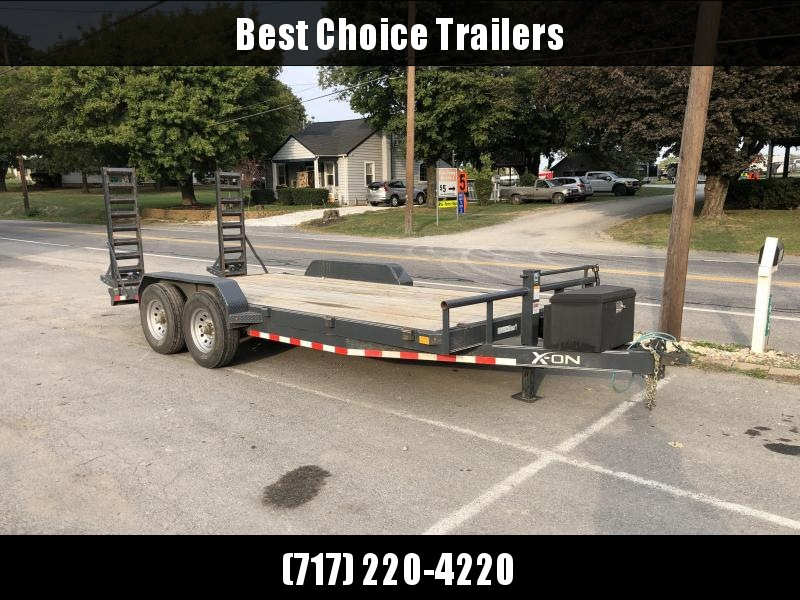 USED 2018 X-On 7x18' Equipment Trailer 14000# GVW * CHARCOAL * TOOLBOX * 12K JACK * ADJUSTABLE COUPLER