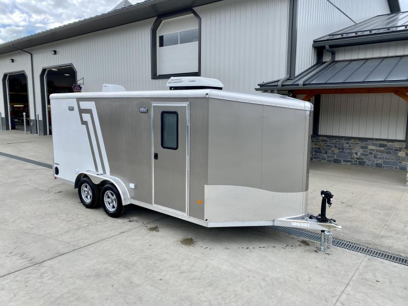 """2022 Neo 7.5x16' NAMR Aluminum Enclosed Motorcycle Trailer * VINYL WALLS/CEILING * ALUMINUM WHEELS * +6"""" HEIGHT * PEWTER + WHITE * SPORT TIE DOWN SYSTEM * NUDO FLOOR * CABINETS * A/C UNIT * 50 AMP SERVICE * LED LIGHTS"""