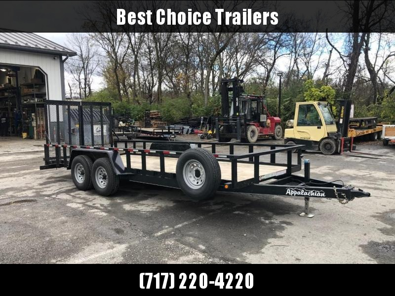 """USED 2020 7x20' Appalachian HD Utility Landscape Trailer 12000# * SPARE TIRE * 2X3"""" TUBE TOP RAIL * 5' SPLIT SPRING ASSISTED GATE * 5"""" TONGUE & FRAME * 16"""" RUBBER"""