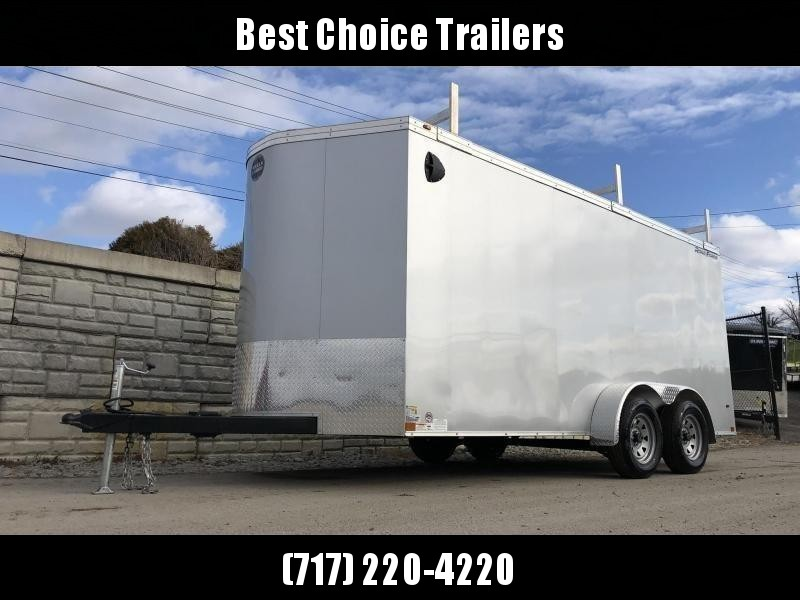 """2020 Wells Cargo 7x16' Road Force Enclosed Contractor Trailer 7000# GVW * SILVER EXTERIOR * CONTRACTOR PACKAGE * 3 LADDER RACKS * 3/4"""" WALLS * SCREWLESS .030 EXTERIOR * 1 PC ALUM ROOF * 6'6"""" HEIGHT * TUBE STUDS * RV DOOR * ARMOR GUARD * EXTENDED TRIPLE TU"""