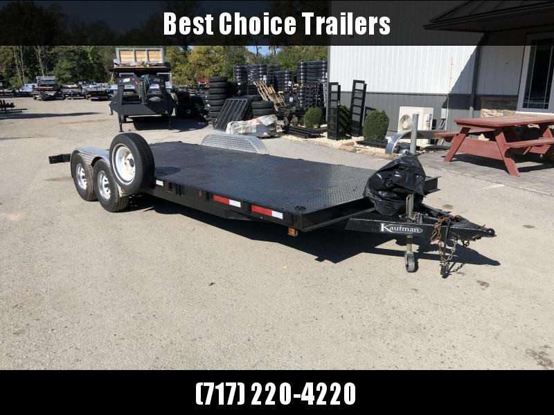 USED Kaufman 7x22' Steel Floor Car Hauler Trailer 9990 GVW * STEEL FLOOR * WINCH * SPARE TIRE