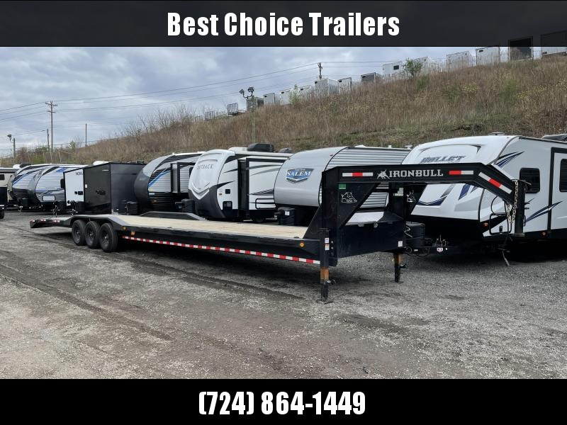 "USED 2021 Ironbull 102x44' Gooseneck Car Hauler Equipment Trailer 21000# * 102"" DECK * DRIVE OVER FENDERS * 4' DOVETAIL"