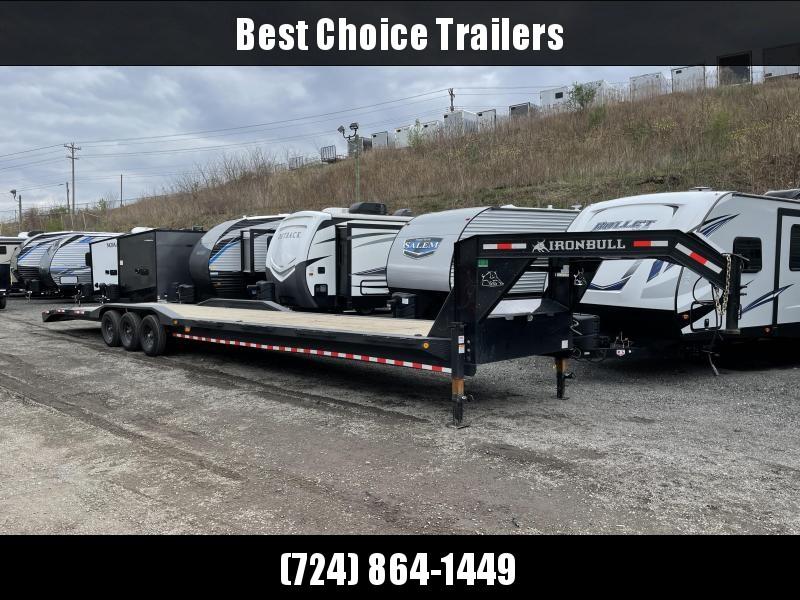 """USED 2021 Ironbull 102x44' Gooseneck Car Hauler Equipment Trailer 21000# * 102"""" DECK * DRIVE OVER FENDERS * 4' DOVETAIL"""