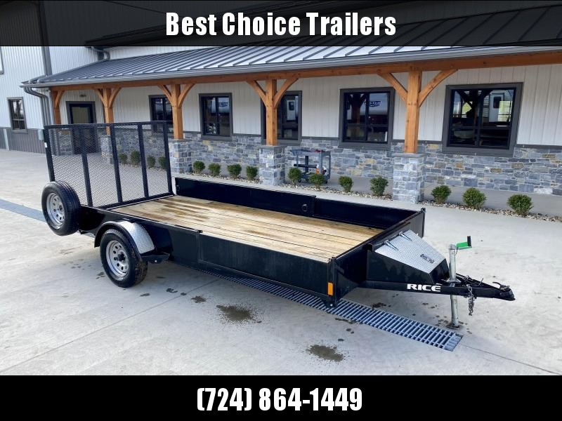 USED 2016 Rice 7x14' ATV Utility Landscape Trailer 2990# GVW * ATV RAMPS * TOOLBOX * TUBE FRAME * SOLID STEEL SIDES * TUBE GATE * SPARE TIRE * D-RINGS