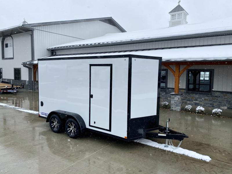 "2021 Sure-Trac 7x14' Enclosed Cargo Trailer 7000# GVW * WHITE EXTERIOR * BLACKOUT TRIM PACKAGE * TORSION * .030 SCREWLESS * ALUM WHEELS * 1PC ROOF * 6'6"" H * 6"" FRAME * LED LIGHTS * BACKUP LIGHTS"