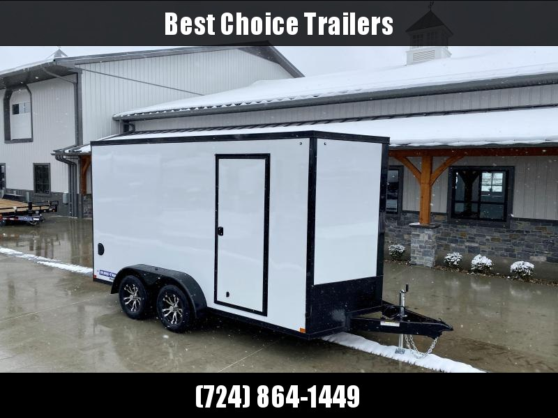 """2021 Sure-Trac 7x14' Enclosed Cargo Trailer 7000# GVW * WHITE EXTERIOR * BLACKOUT TRIM PACKAGE * TORSION * .030 SCREWLESS * ALUM WHEELS * 1PC ROOF * 7' HEIGHT * 6"""" FRAME * LED LIGHTS * BACKUP LIGHTS"""