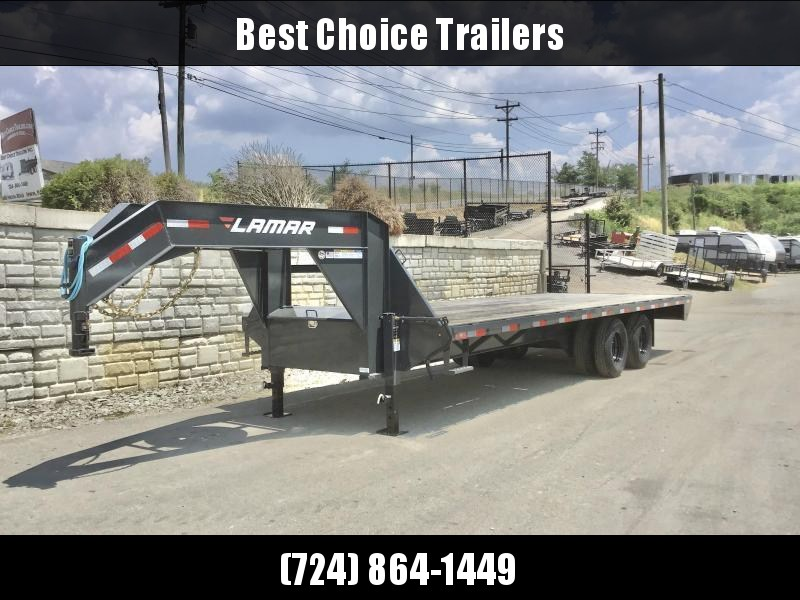 "2020 Lamar 102X25' Gooseneck Deckover Trailer 20000# GVW * 12"" I-BEAM * 8' SLIDE OUT RAMPS * DUAL JACKS * SPARE TIRE * CHARCOAL * CLEARANCE"