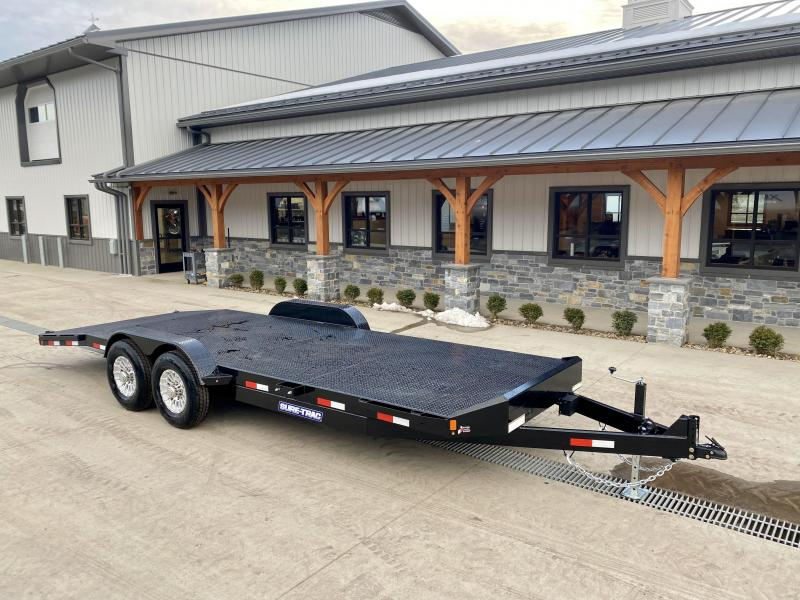 "2021 Sure-Trac 7x22' Steel Deck Car Hauler 14000# GVW * 4' BEAVERTAIL * LOW LOAD ANGLE * ALUMINUM WHEELS * 5"" TUBE TONGUE/FRAME * AIR DAM * RUBRAIL/STAKE POCKETS/D-RINGS * REMOVABLE FENDER * FULL SEAMS WELDS * REAR SLIDEOUT PUNCH PLATE RAMPS"