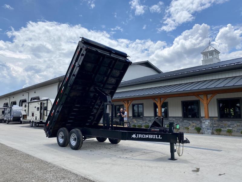 USED 2019 Iron Bull 8x14' Deckover Dump Trailer 14000# * SCISSOR * TARP * I-BEAM FRAME * DEXTER'S