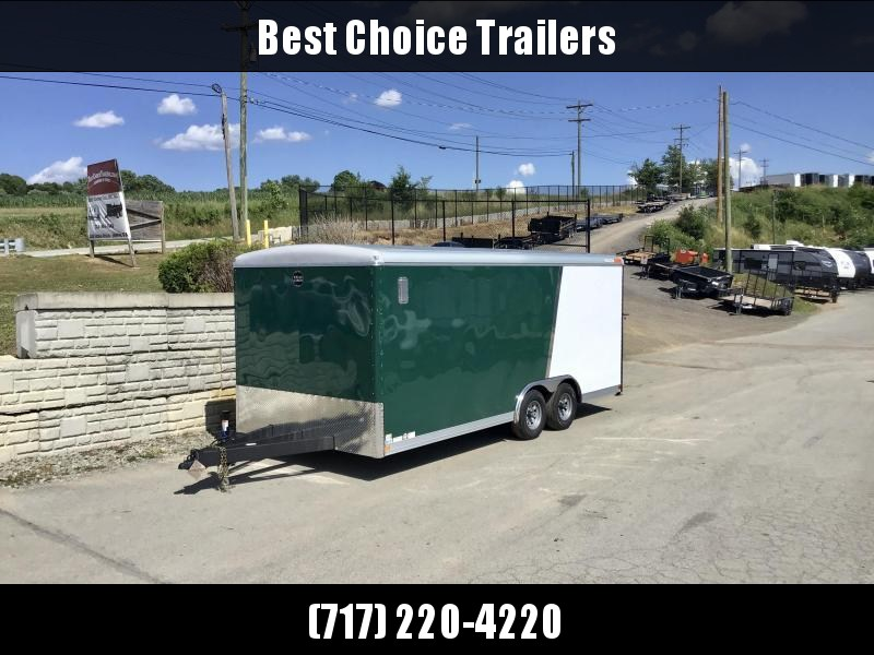2020 Wells Cargo 8.5X20' Wagon HD Enclosed Car Trailer 9990# GVW * GREEN+WHITE * ROOF VENT * STABILIZER JACKS * 7' INTERIOR HEIGHT * .030 EXTERIOR * HD RAMP DOOR * TRIPLE TUBE TONGUE * ADJUSTABLE COUPLER * D-RINGS * TORSION SUSPENSION * 7K JACK
