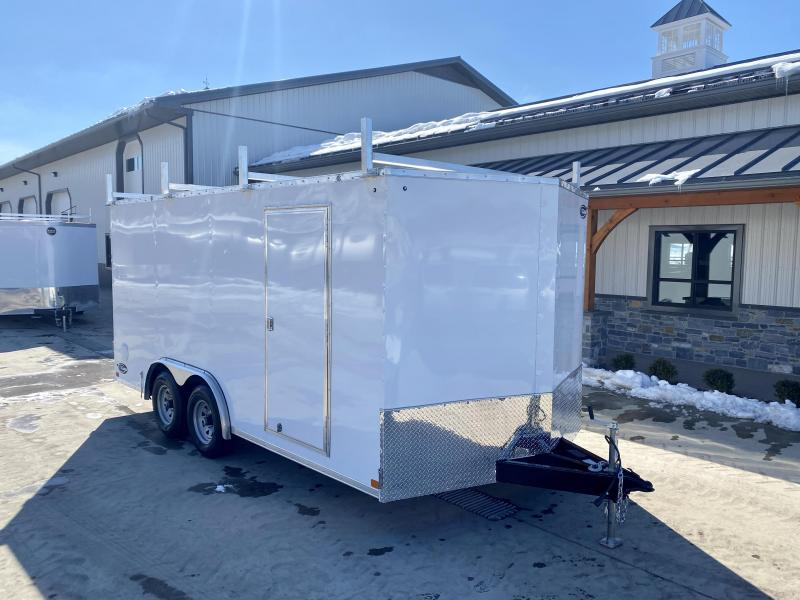 "2021 ITI Cargo 8.5x16 Enclosed Cargo Trailer 7000# GVW * BARN DOORS * WHITE EXTERIOR * 3 LADDER RACKS * .030 SEMI-SCREWLESS * RV DOOR * 1 PC ROOF * 3/8"" WALLS * 3/4"" FLOOR * PLYWOOD * TRIPLE TUBE TONGUE * 6'6"" INTERIOR * 24"" STONEGUARD * HIGH GLOSS PAINTE"